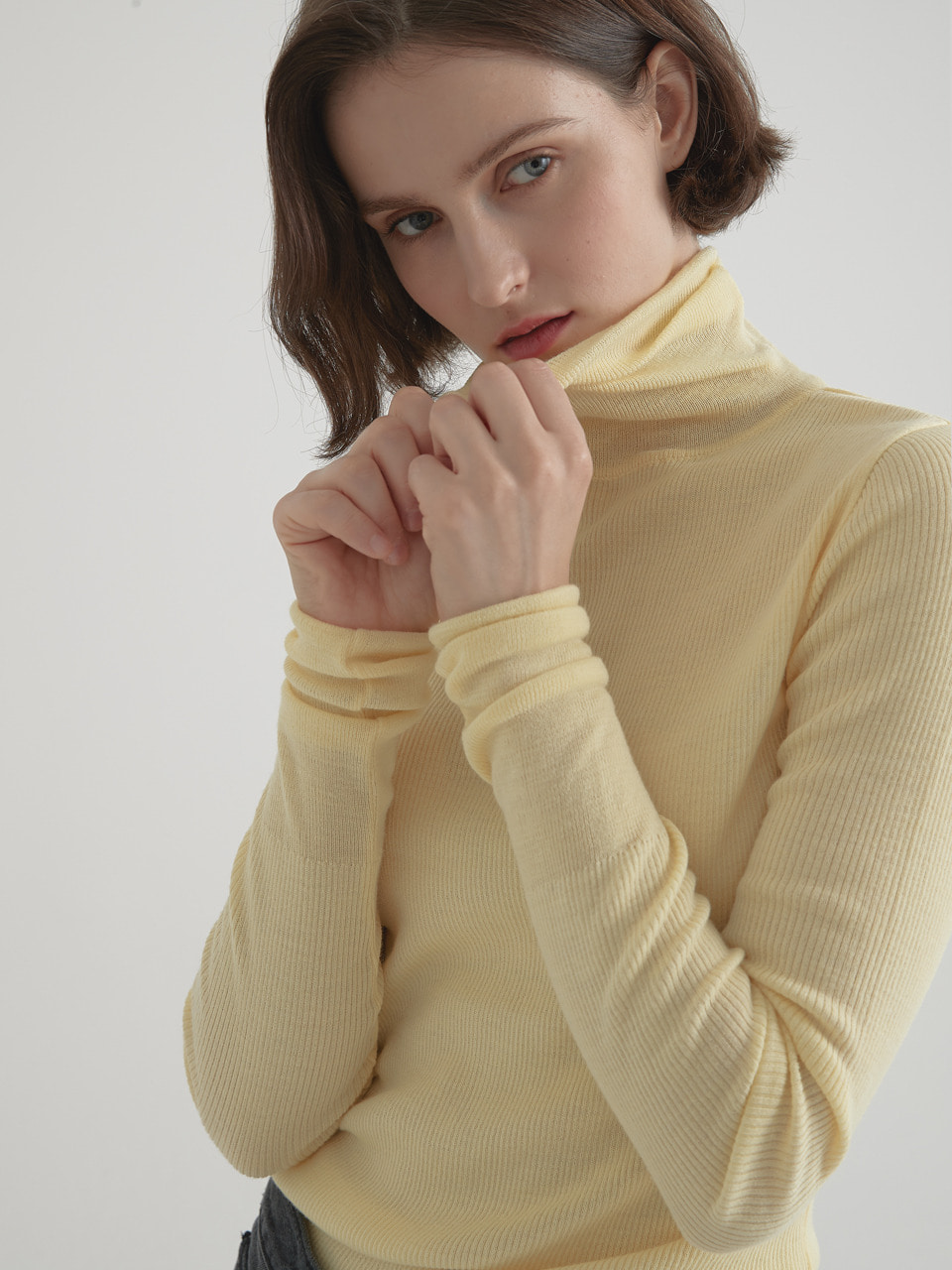 Cashmere blended 16gaze pullover knitwear - Lemon yellow
