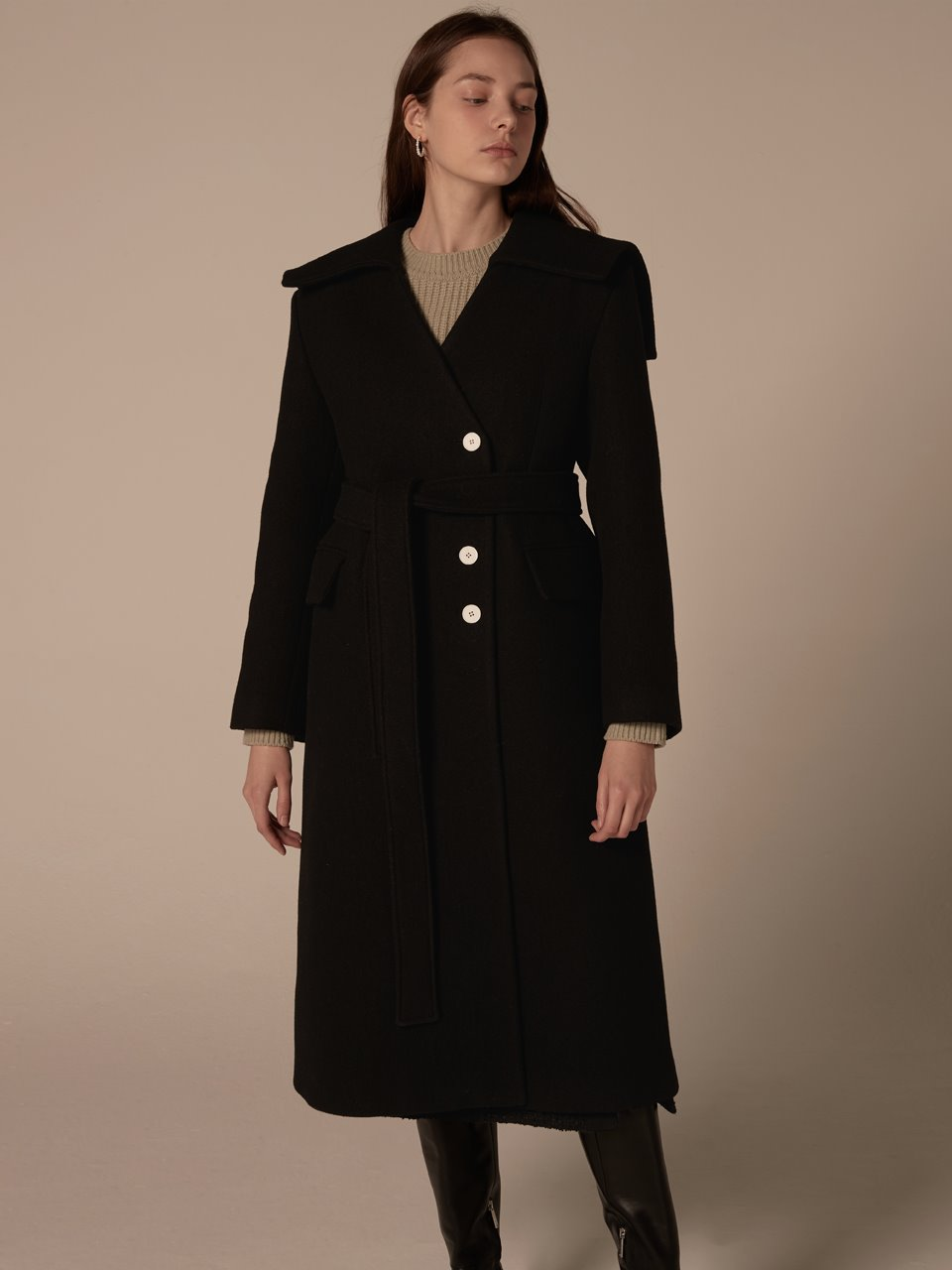 [예약발송] Sailor collar button coat - Black