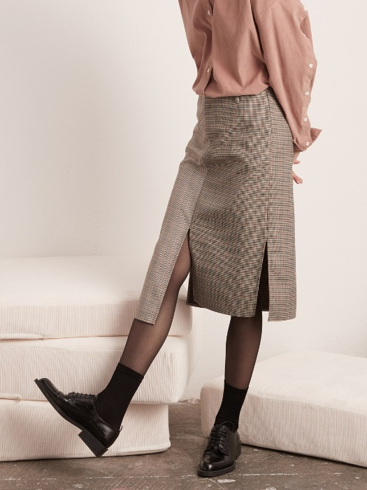 Slit Skirt - Mixed Check
