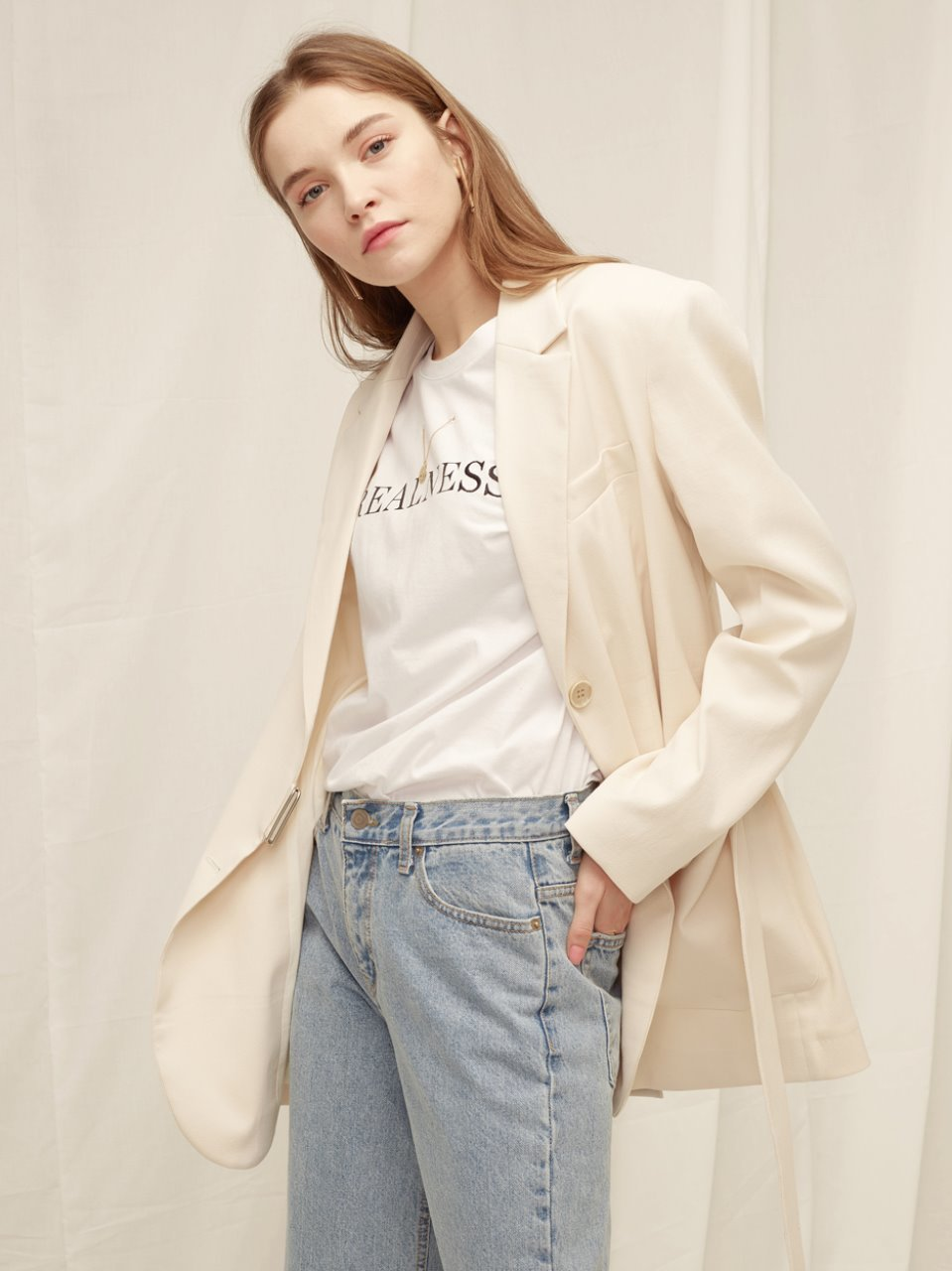 Button Point Belted Jacket - Cream