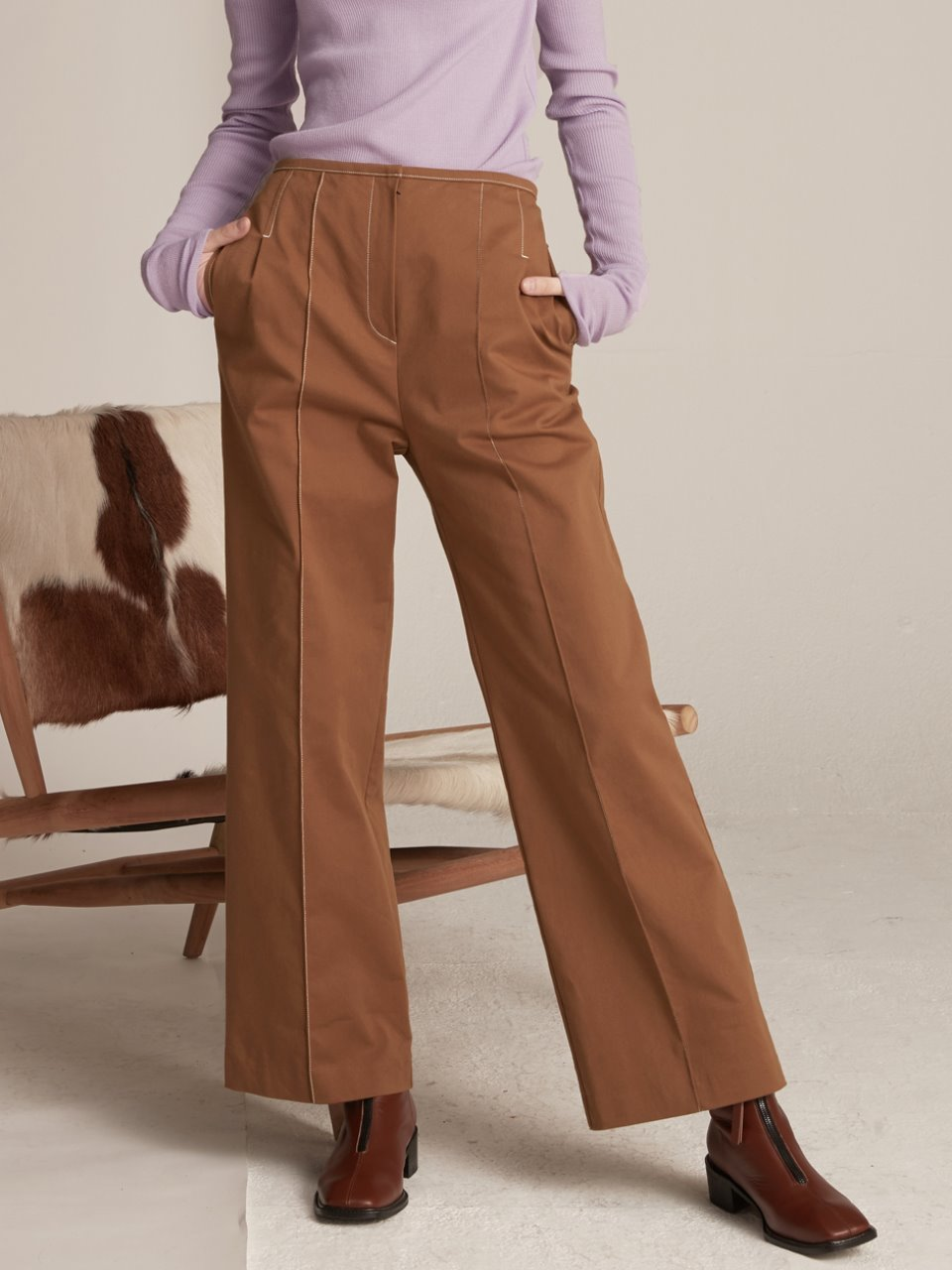 Pin-tuck Stitched Pants - Brown