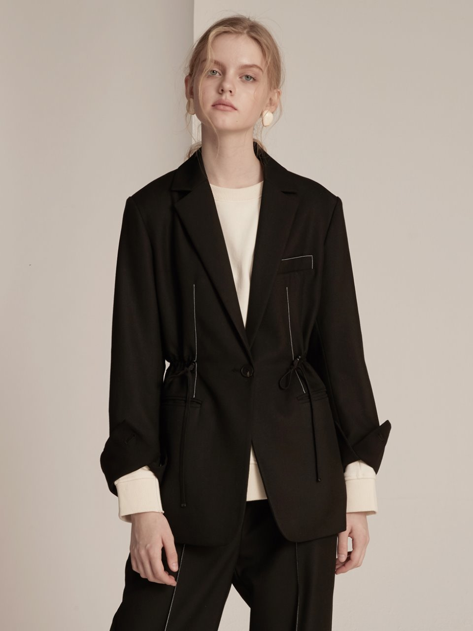 String Tailored Jacket - Black