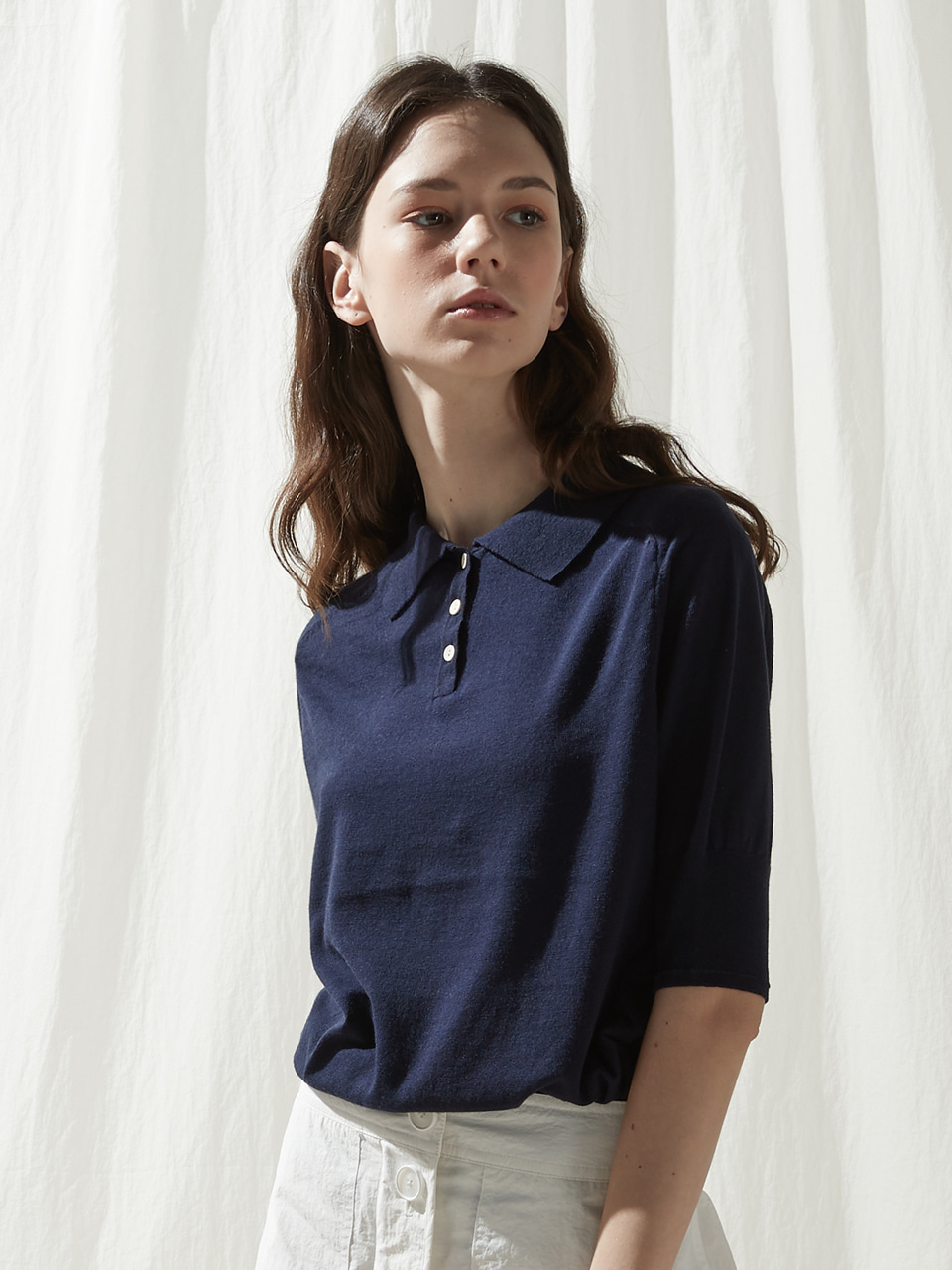 Short sleeve collar knit top - Navy