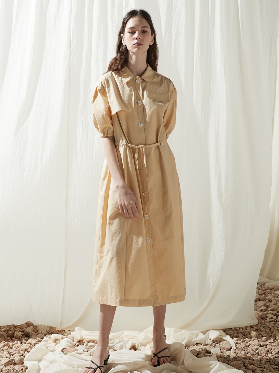 [6/3출고예정]Summer trench onepiece - Custard yellow