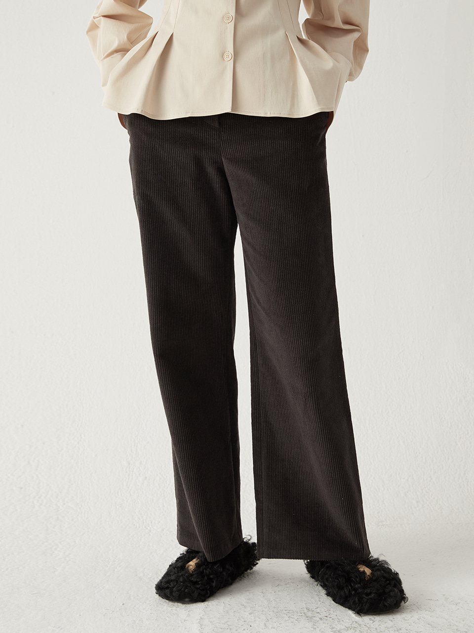 Corduroy wide pants - Black