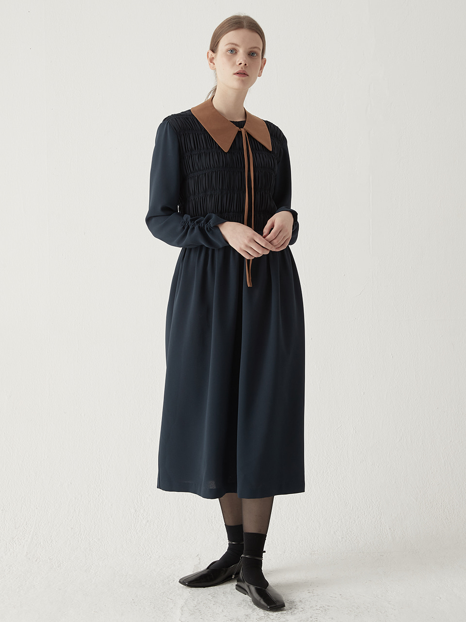 Shirring smocking one-piece - Navy
