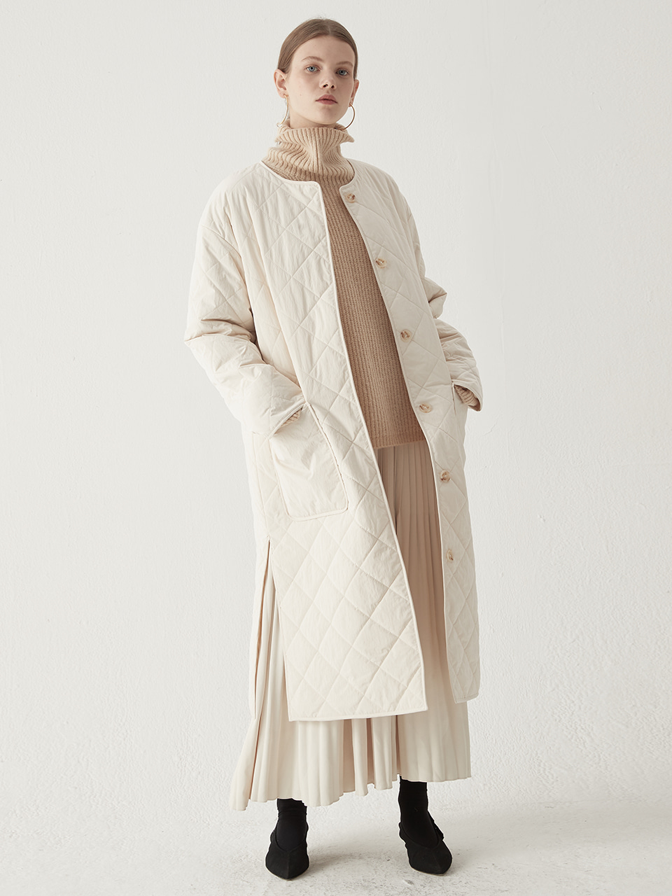 Embroidery padding coat - Ivory