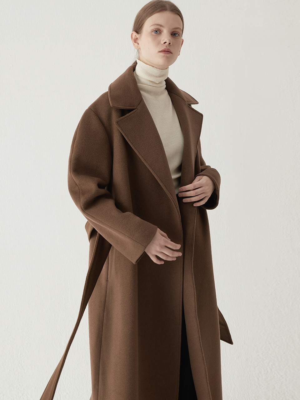 Cashmere blended maxi coat - Brown