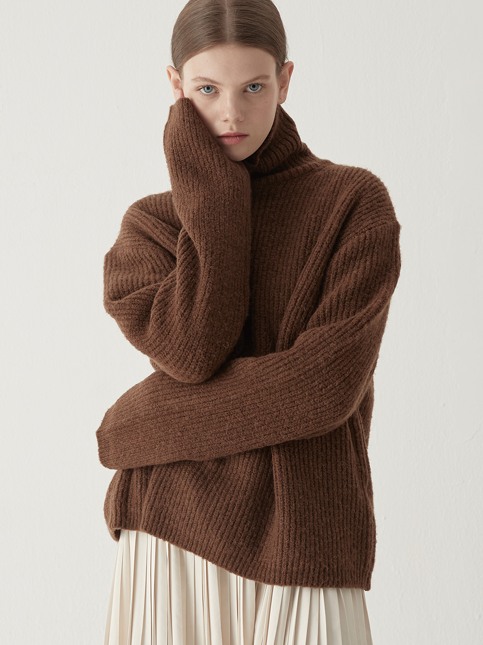 Alpaca turtleneck sweater - Brown