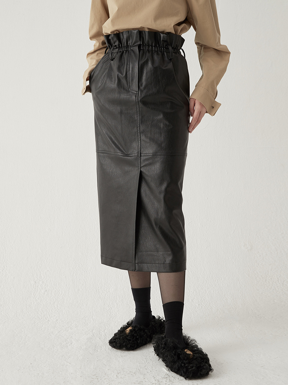 High waist leather skirt - Black