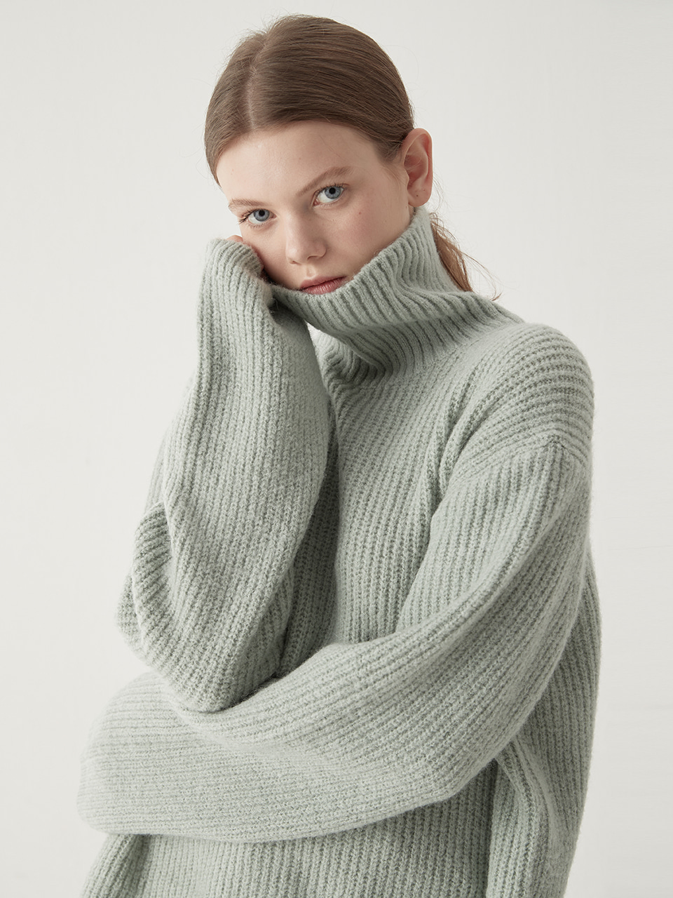 Alpaca turtleneck sweater - Mint