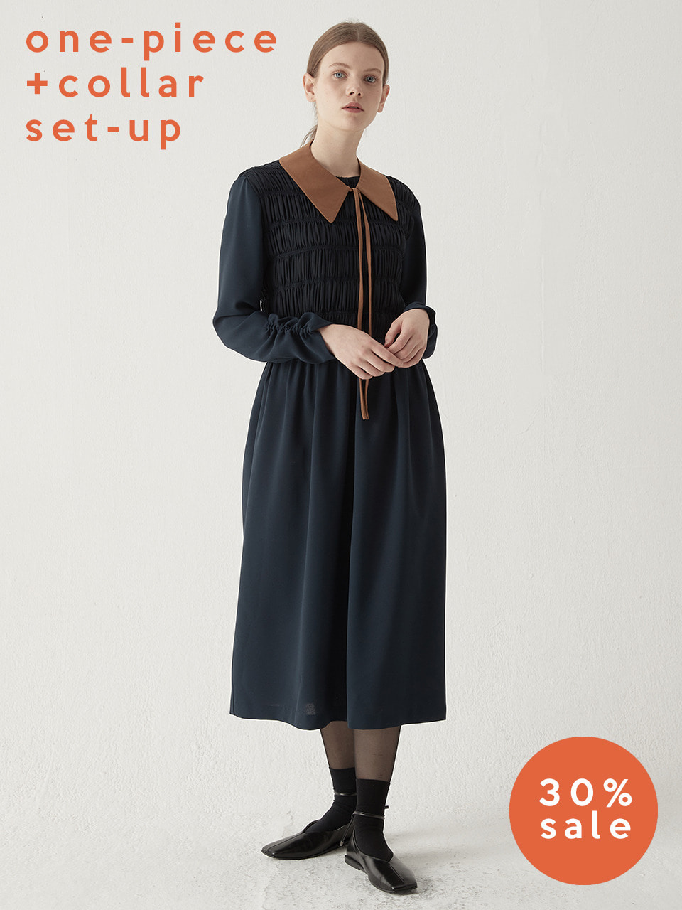 Shirring smocking one-piece(Navy) + Layered neck collar
