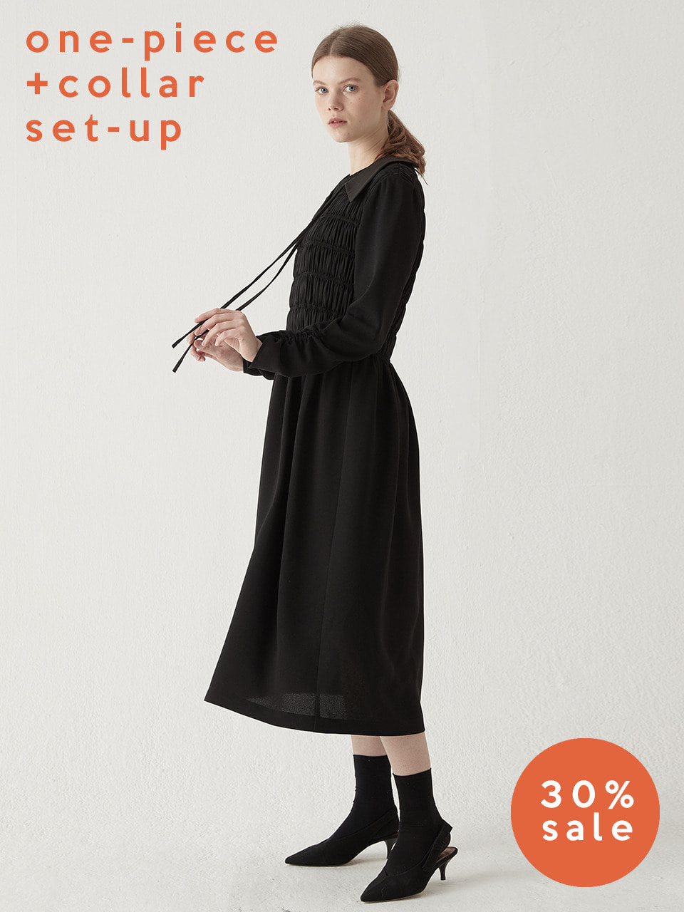 Shirring smocking one-piece(Black) + Layered neck collar