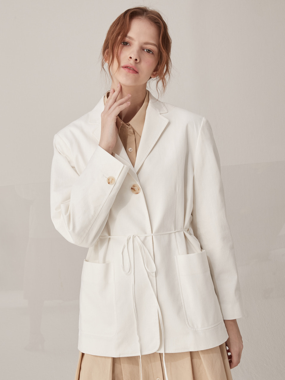String cotton jacket - White