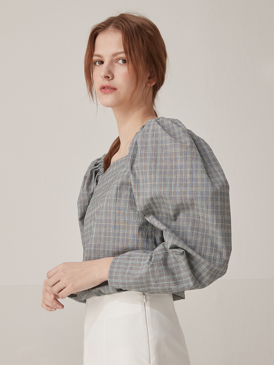 Check puff shoulder blouse - Gray