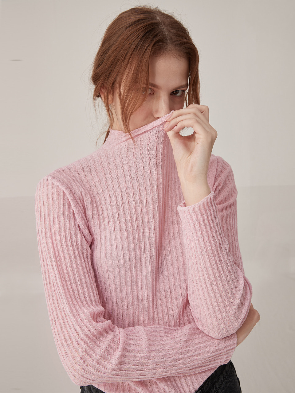 Ribbed half neck knit top - Pink