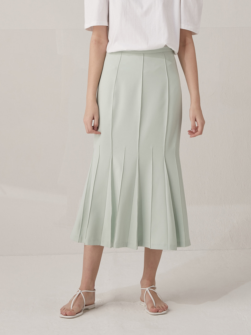 Pin-tuck mermaid skirt - Mint