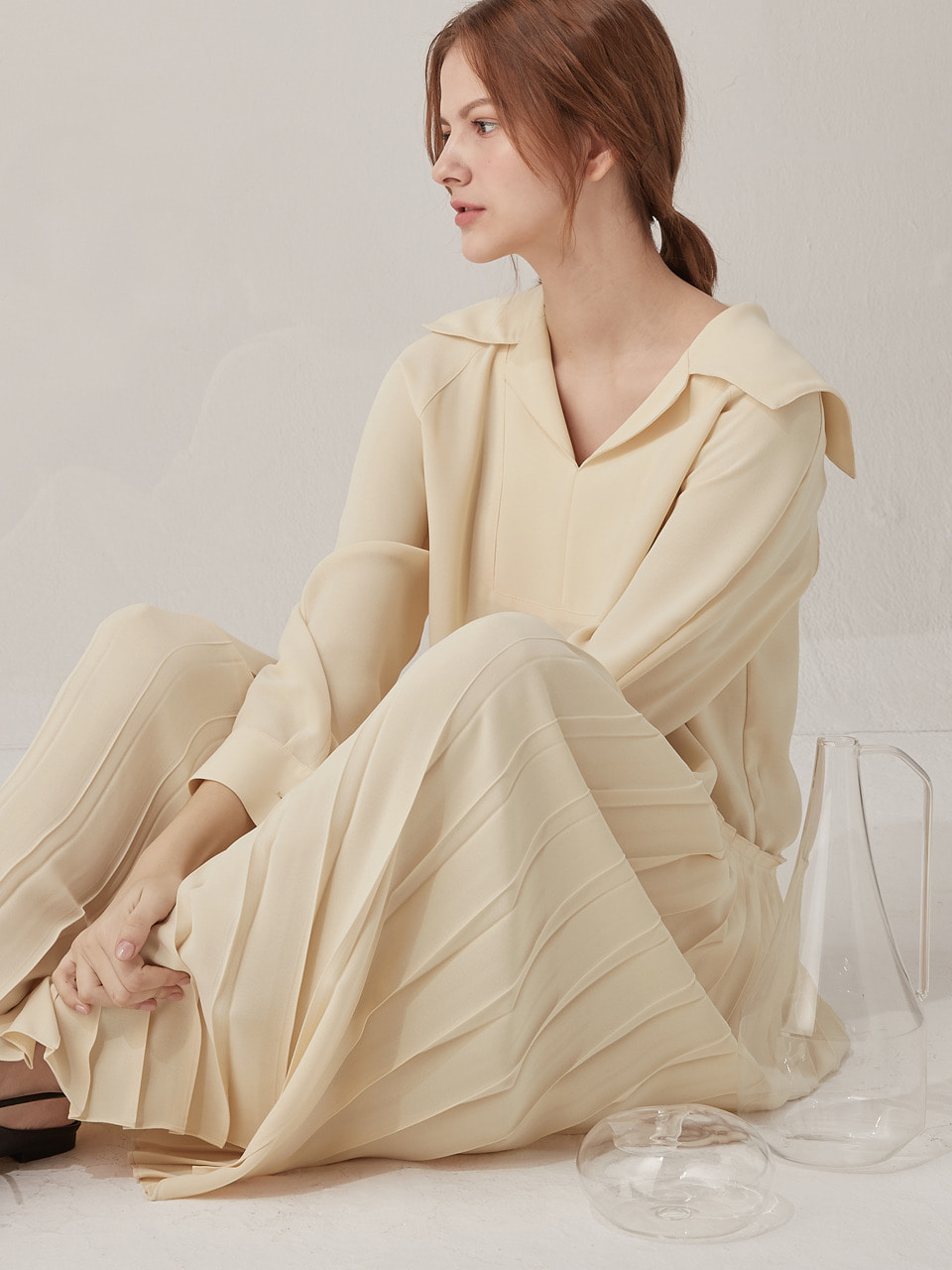Elly pleated dress - Butter