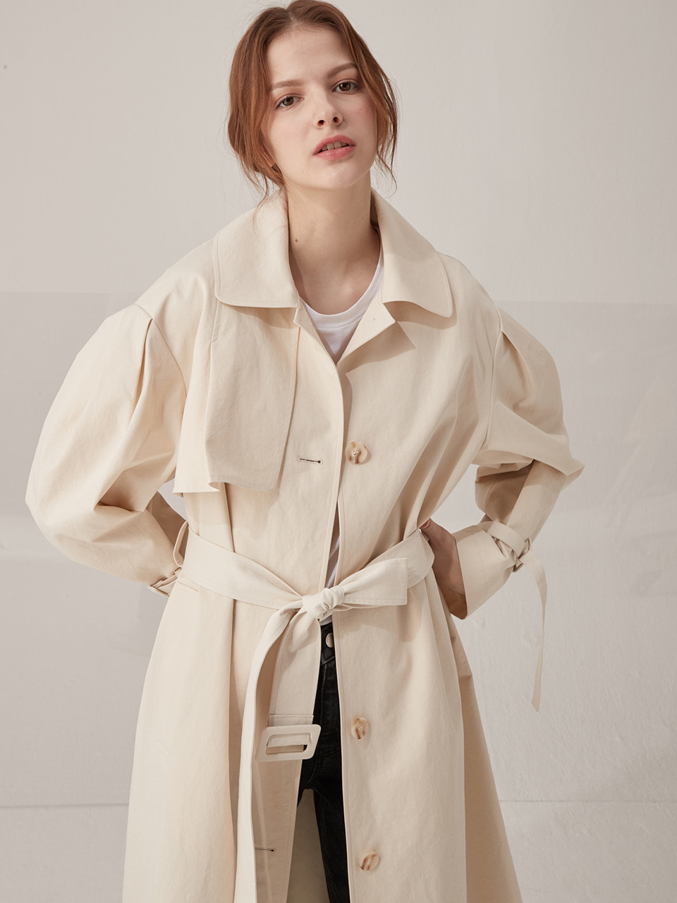 Signature volume trench coat - Ivory