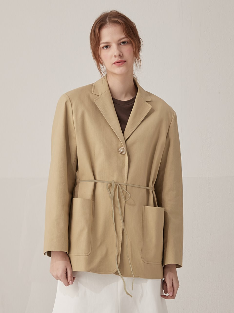 String cotton jacket - Beige