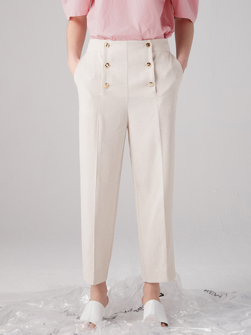 Double button pants - Oatmeal