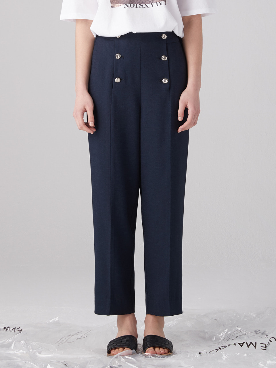 Double button pants - Navy