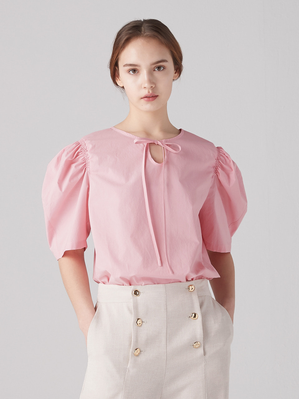 Shirring puff blouse - Blush pink