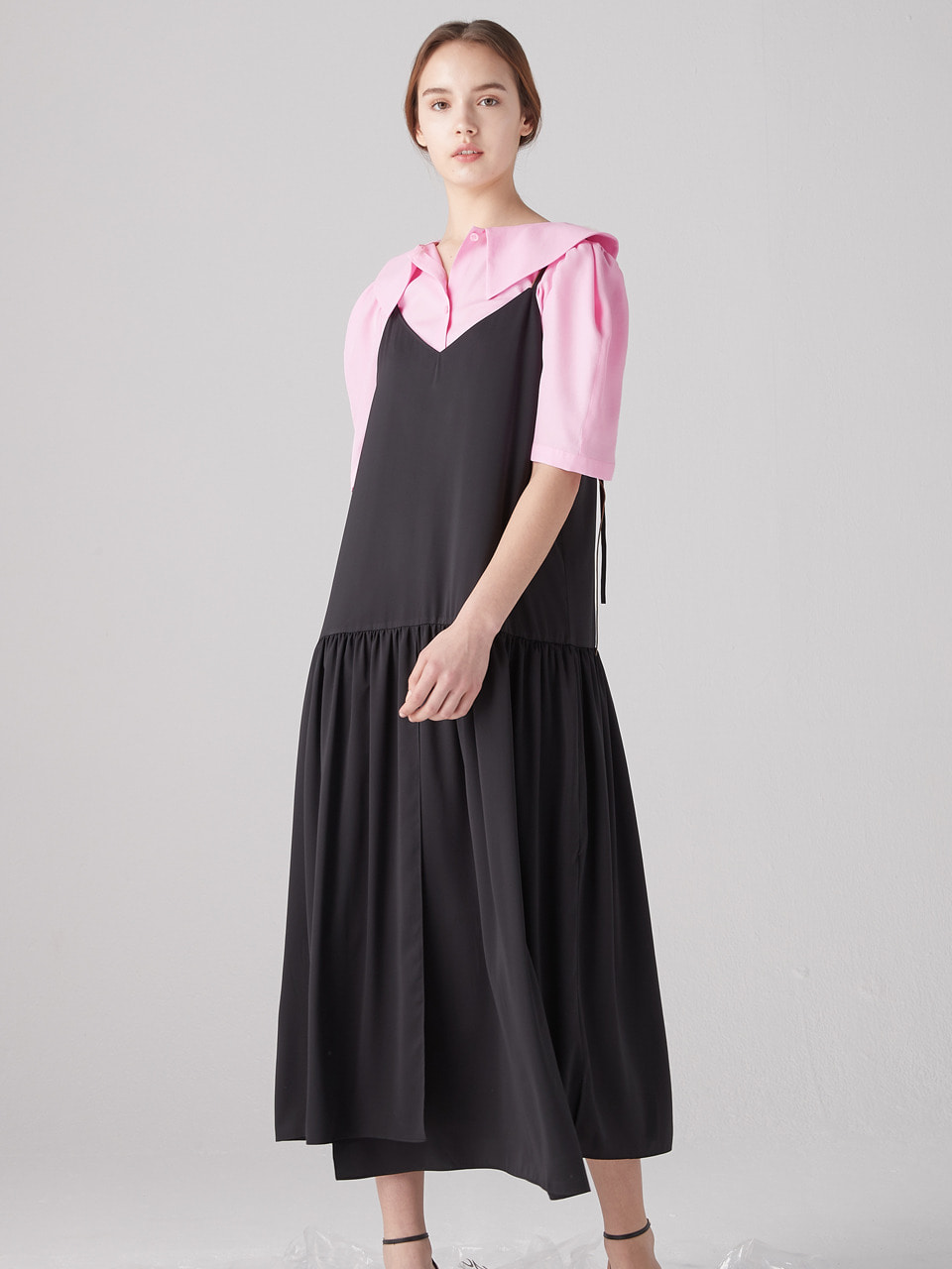 Shirring layered dress - Black