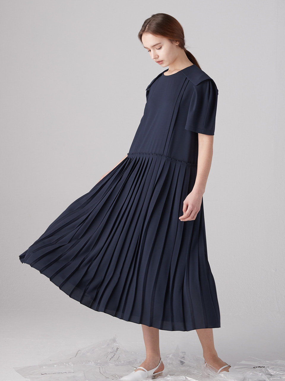 Twee sailor collar dress - Navy
