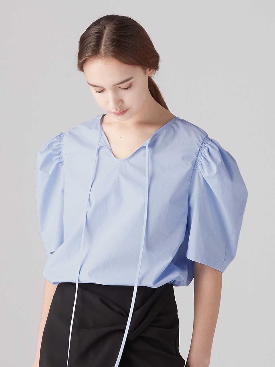 [6/9예약배송]Shirring puff blouse - Sky blue