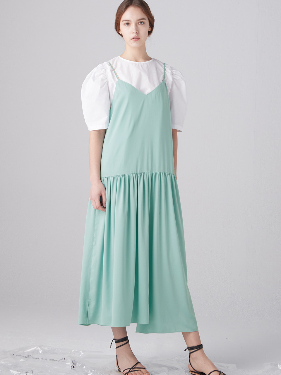 Shirring layered dress - Mint