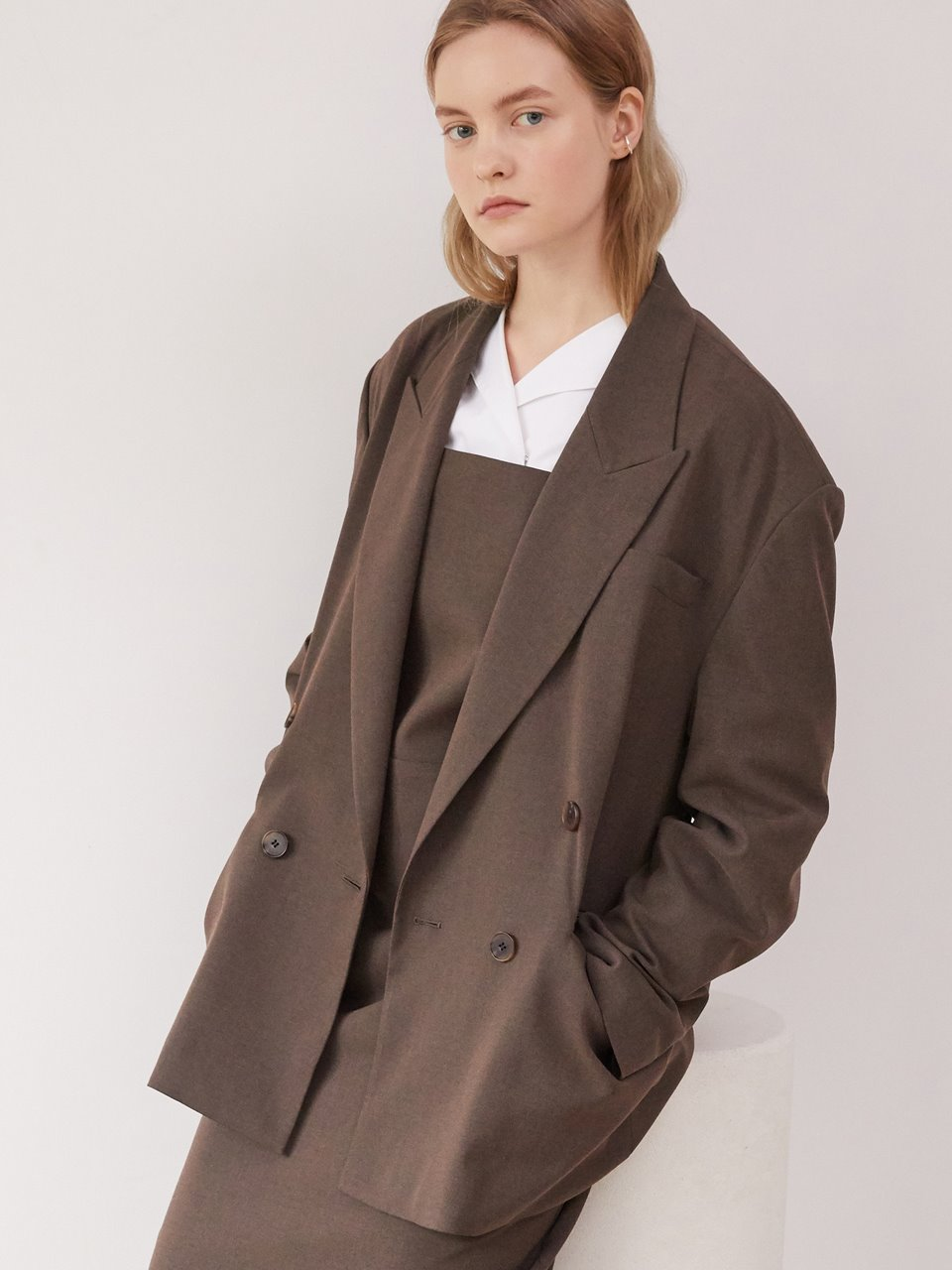Overfit double jacket - Brown