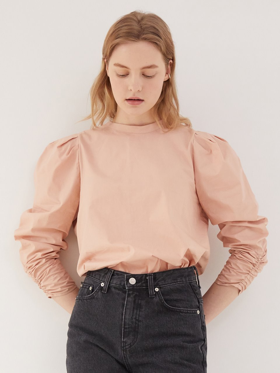 2 way volume blouse - Nude pink