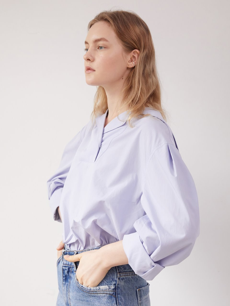 Sailor collar blouse - Sky blue