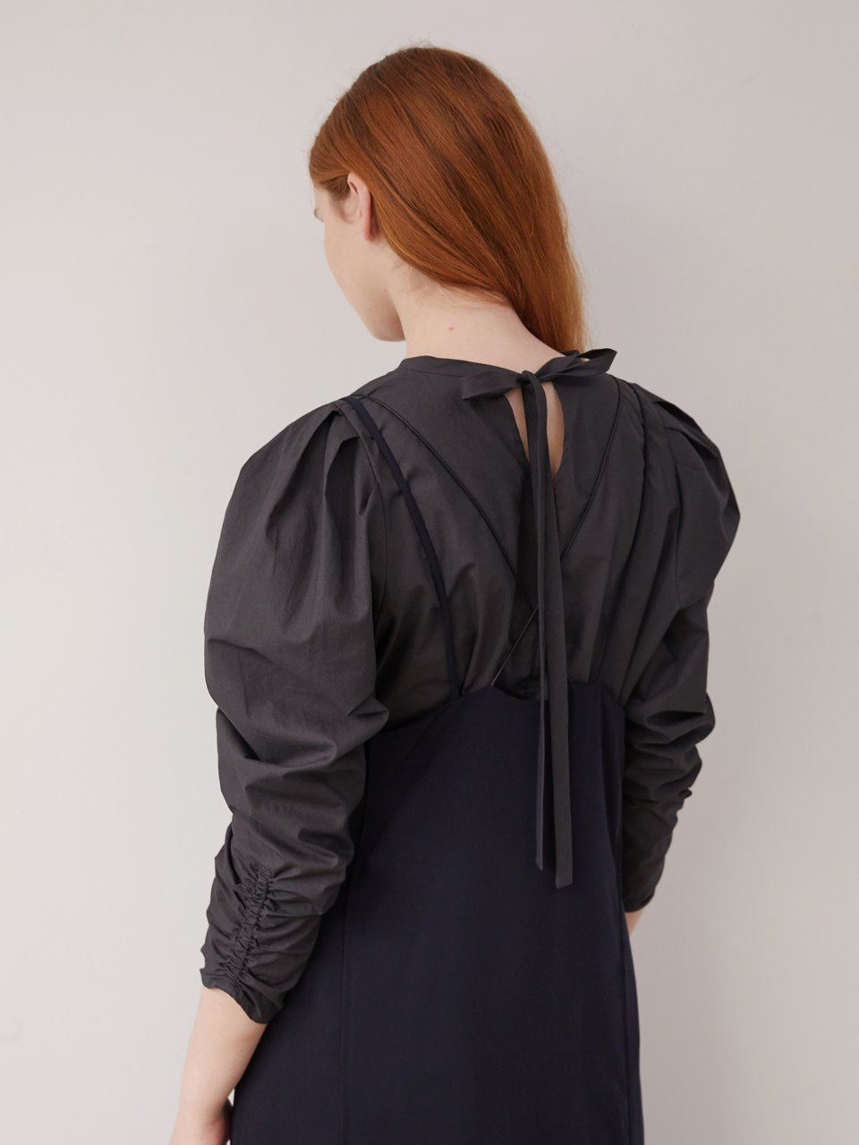 2 way volume blouse - Charcoal