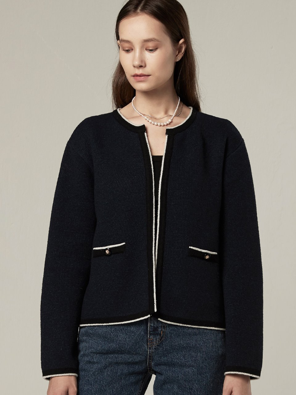 Cashmere blended knit cardigan - Navy