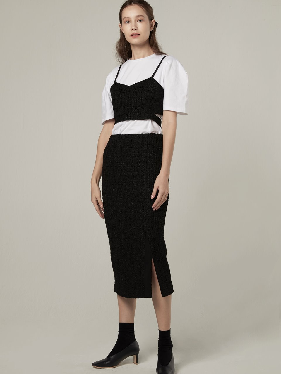 Tweed slit skirt - Black