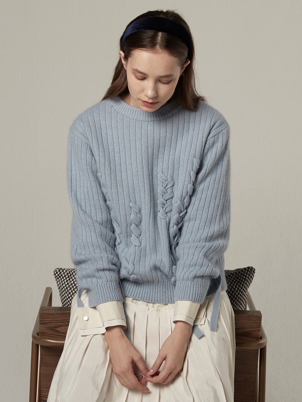 Angora Taped Knitwear- Sky Blue