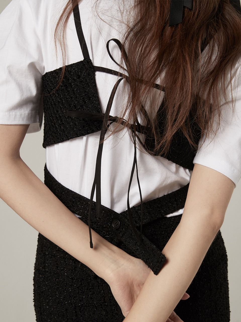 Tweed bustier top - Black