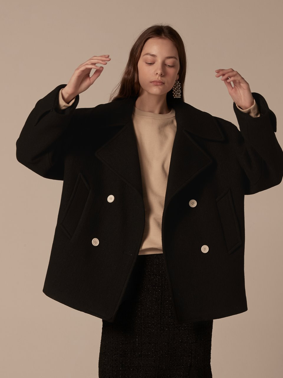 Oversized double half coat - Black