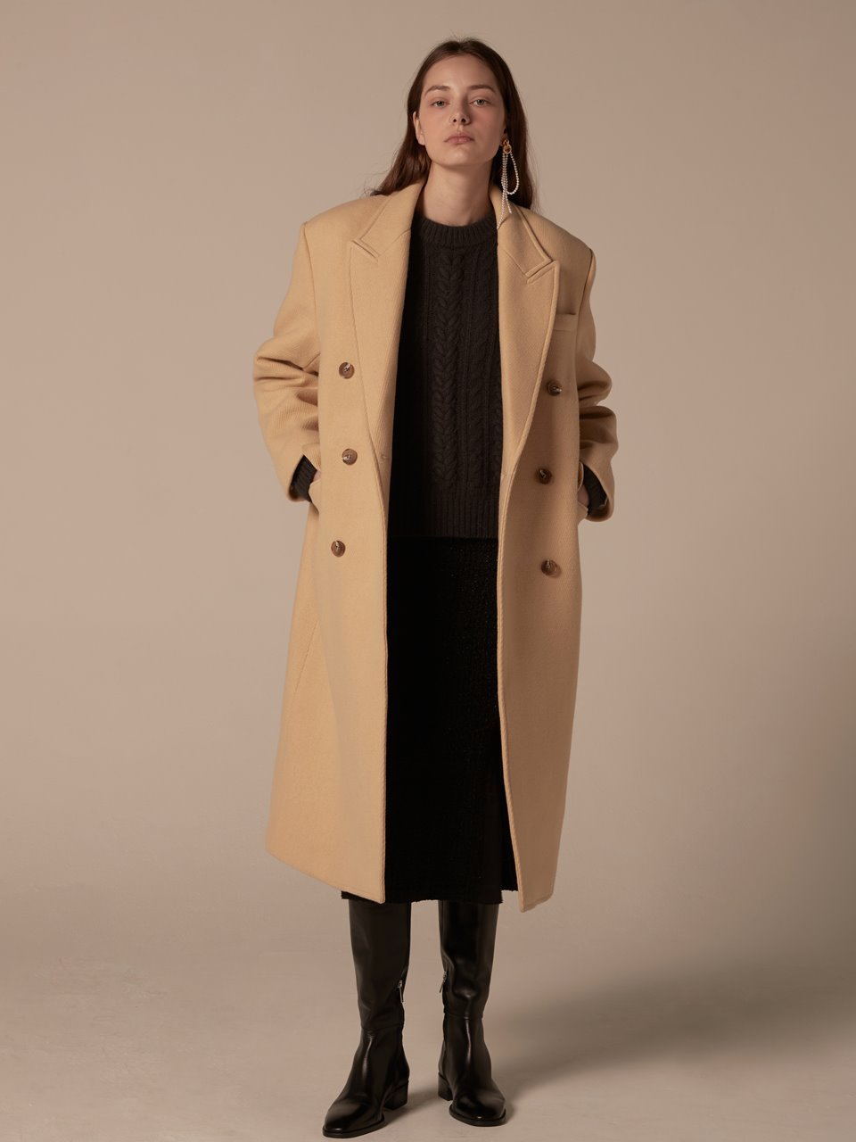 Double breasted overfit long coat - Custard yellow