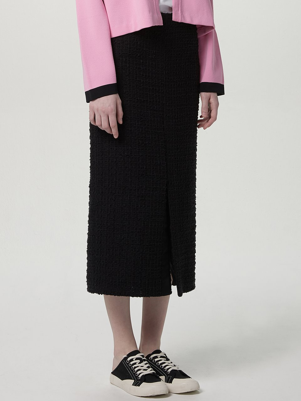 Tweed front slit skirt - Black