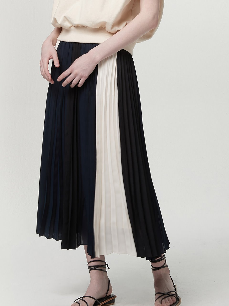 Mix pleated skirt - Navy mix