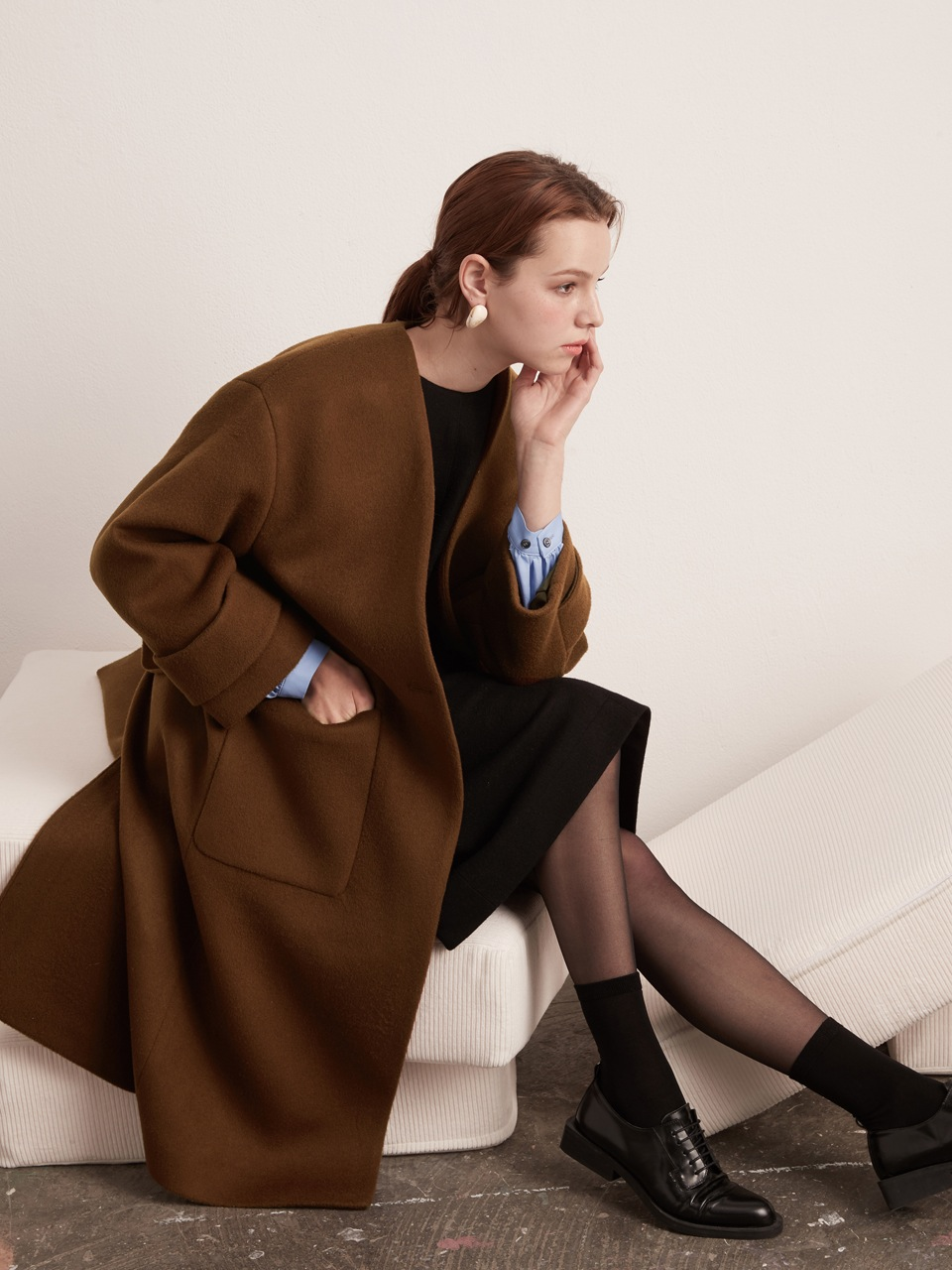 Oversized Wool Coat - Camel Brown