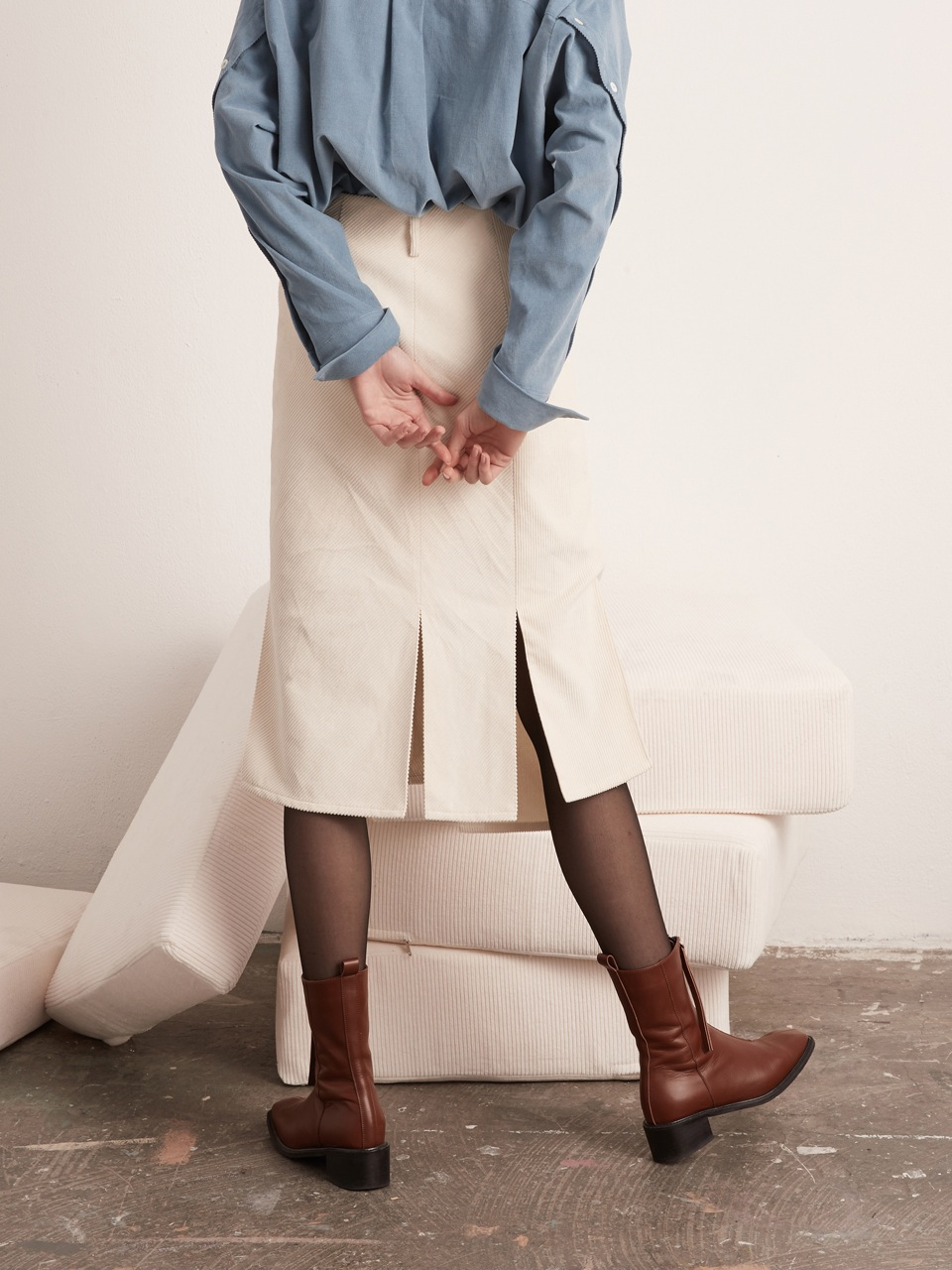 Slit Skirt - Corduroy - Cream