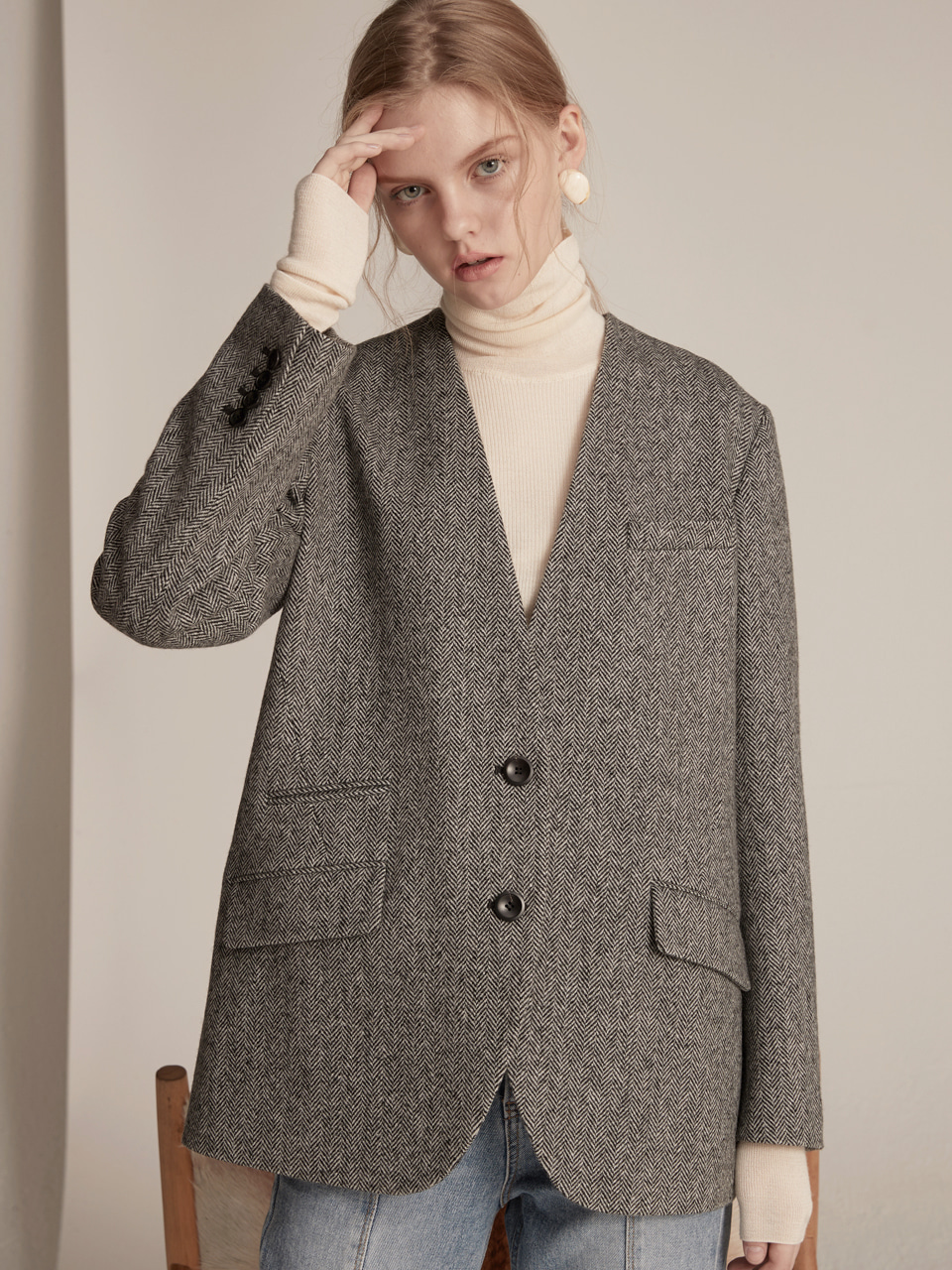 Herringbone Wool Jacket - Middle Grey