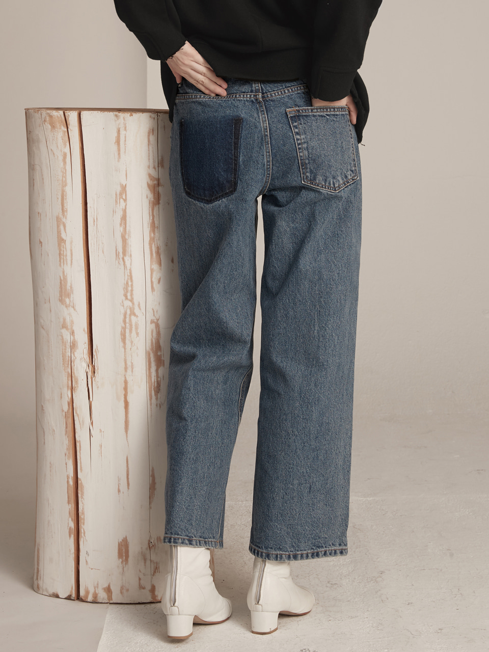 Asymmetry Pocket Denim - Blue