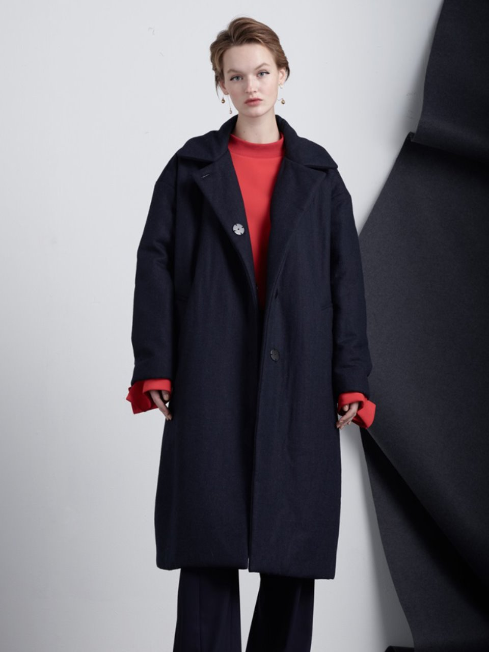 Bonding Boxy Coat-Navy
