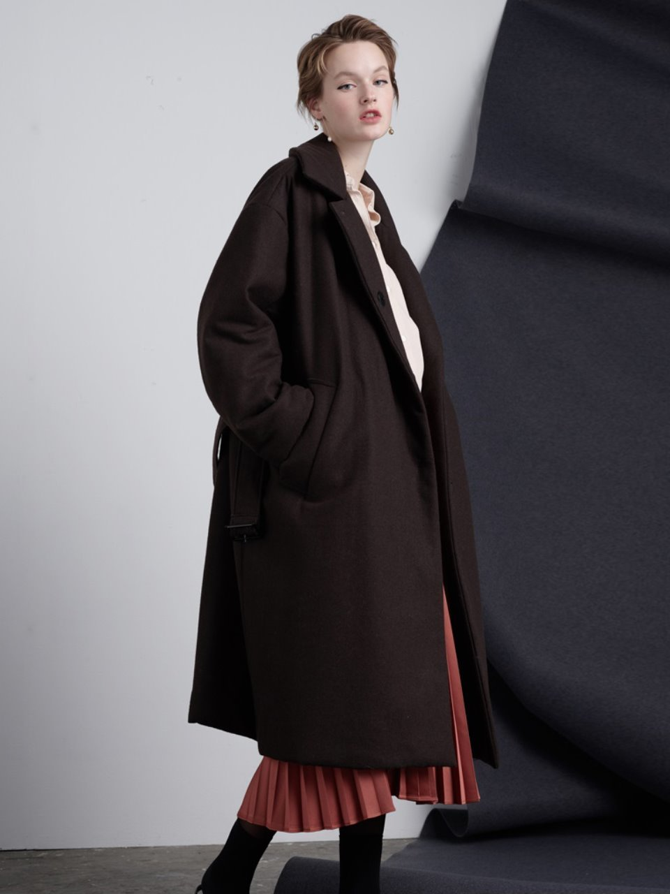 Bonding Boxy Coat-Brown