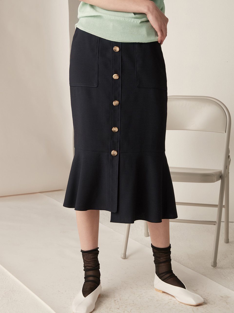 Piping mermaid skirt - navy